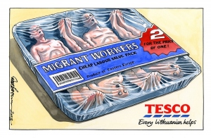 It was claimed in 2013 that the Immigration Minister Chris Bryant claimed that the supermarket giant Tesco had undercut the wages of its British employees by recruiting cheap labor from Easter Europe. This gave a bad look at the company and made one more time hatred over the fat that immigrants are allow to work illegally. As the picture says Migrant workers or in other words immigrants workers are could also be view as hard workers with cheap pay.